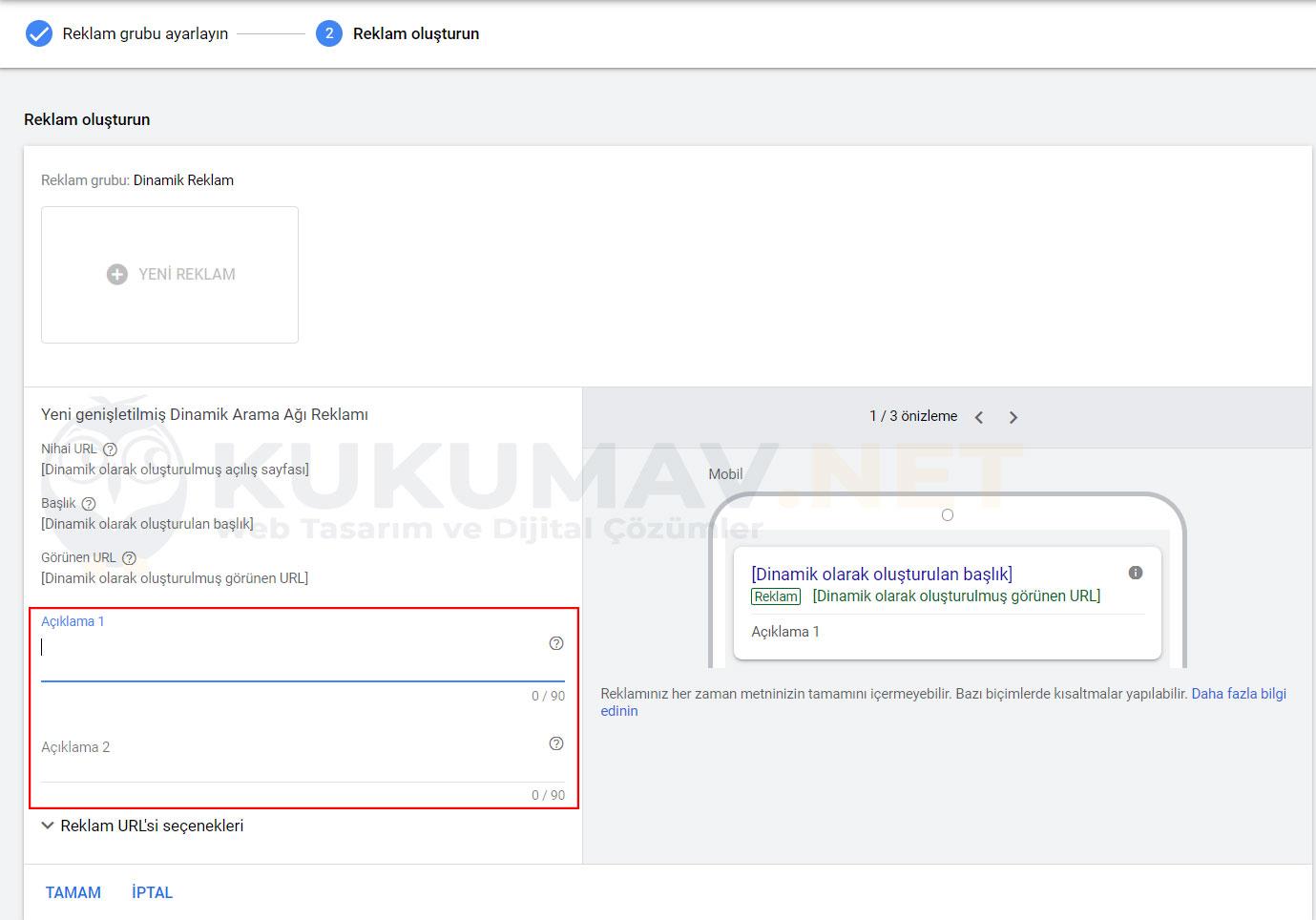 Google Dinamik Kampanya Oluşturma