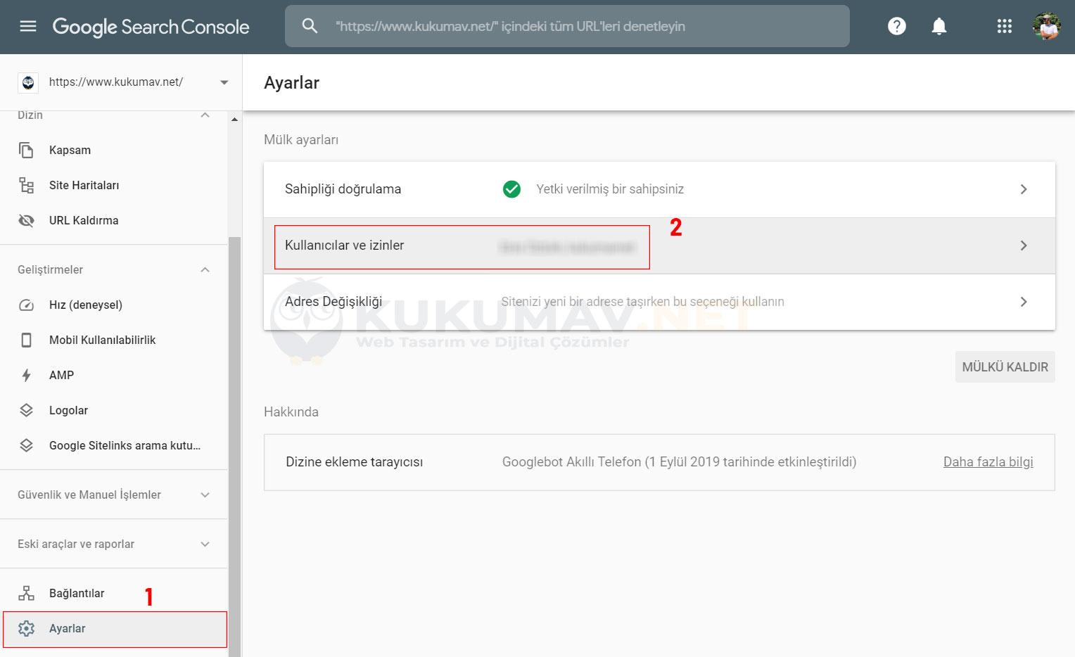 Search Console Kullanıcı Ekleme