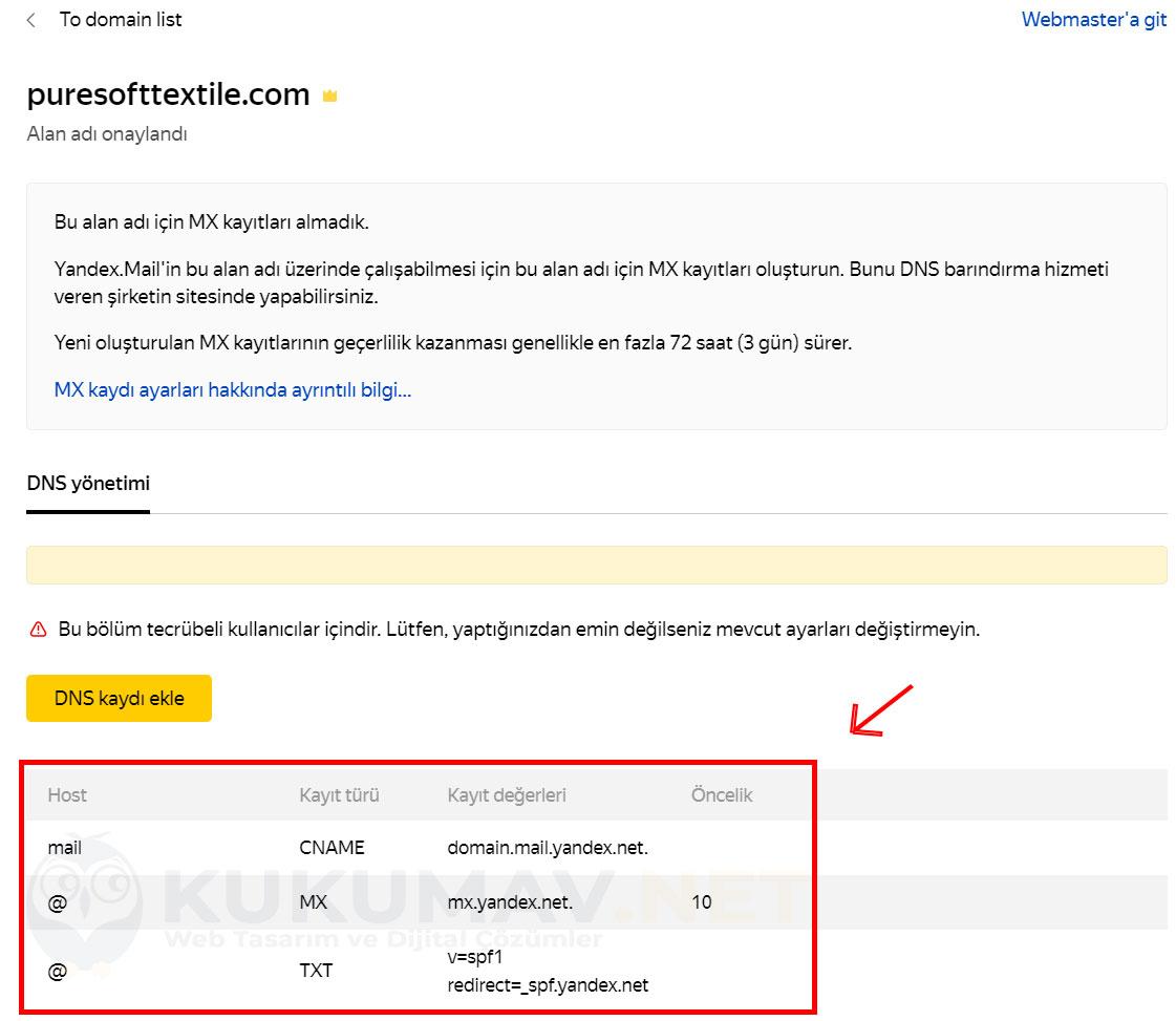 Yandex Dns doğrulama