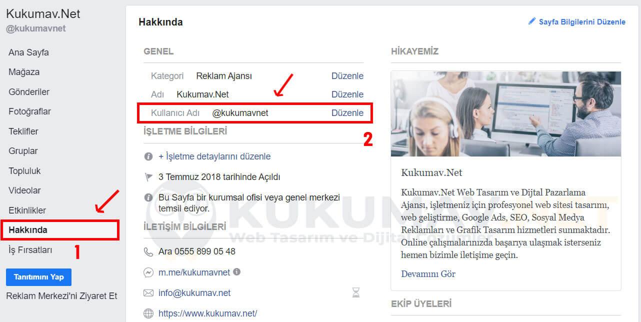 Facebook SEO Kullanıcı Adı Ekleme