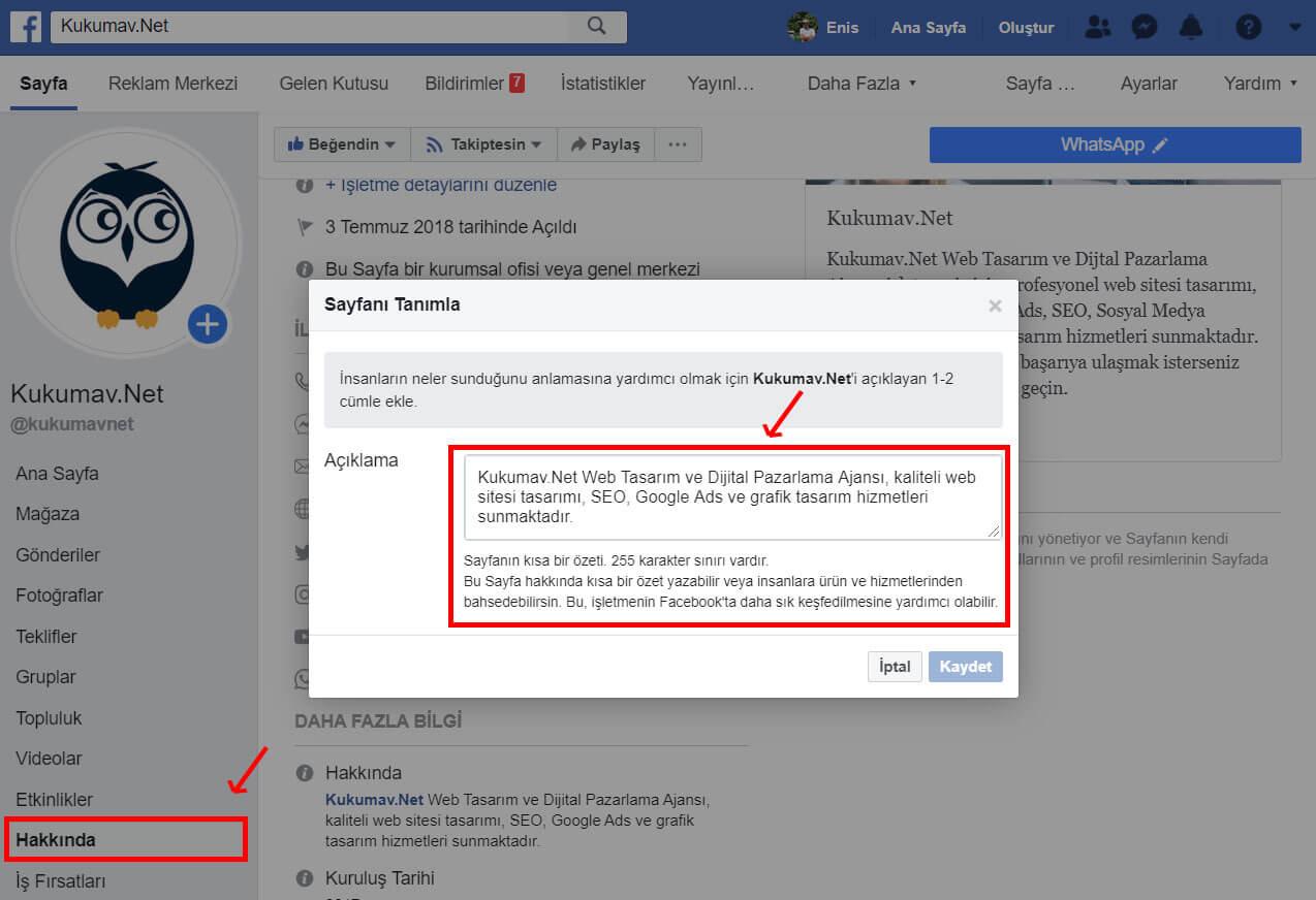 Facebook Hakkımızda SEO Yapma