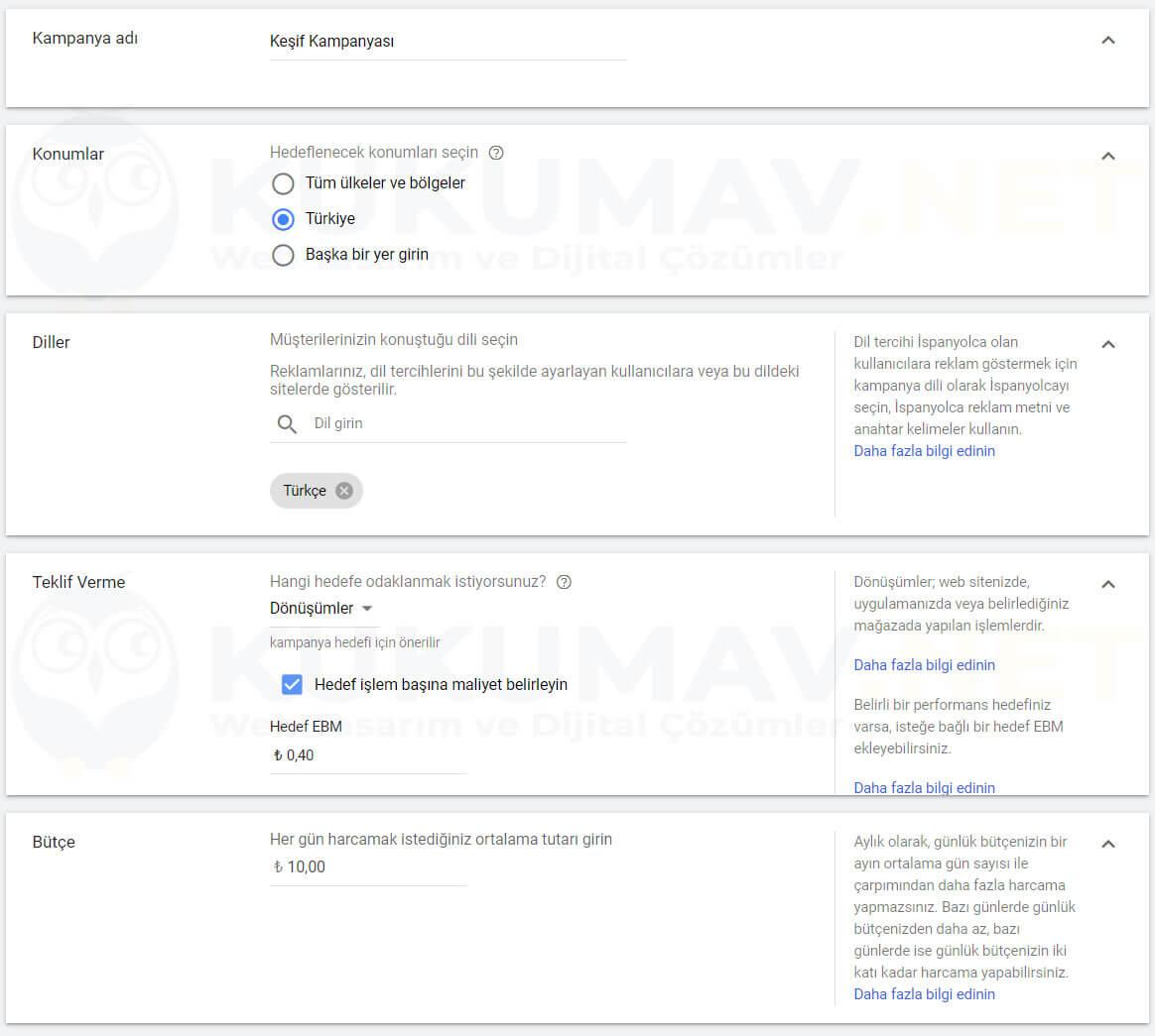 Google Keşfet Kampanya Oluşturma