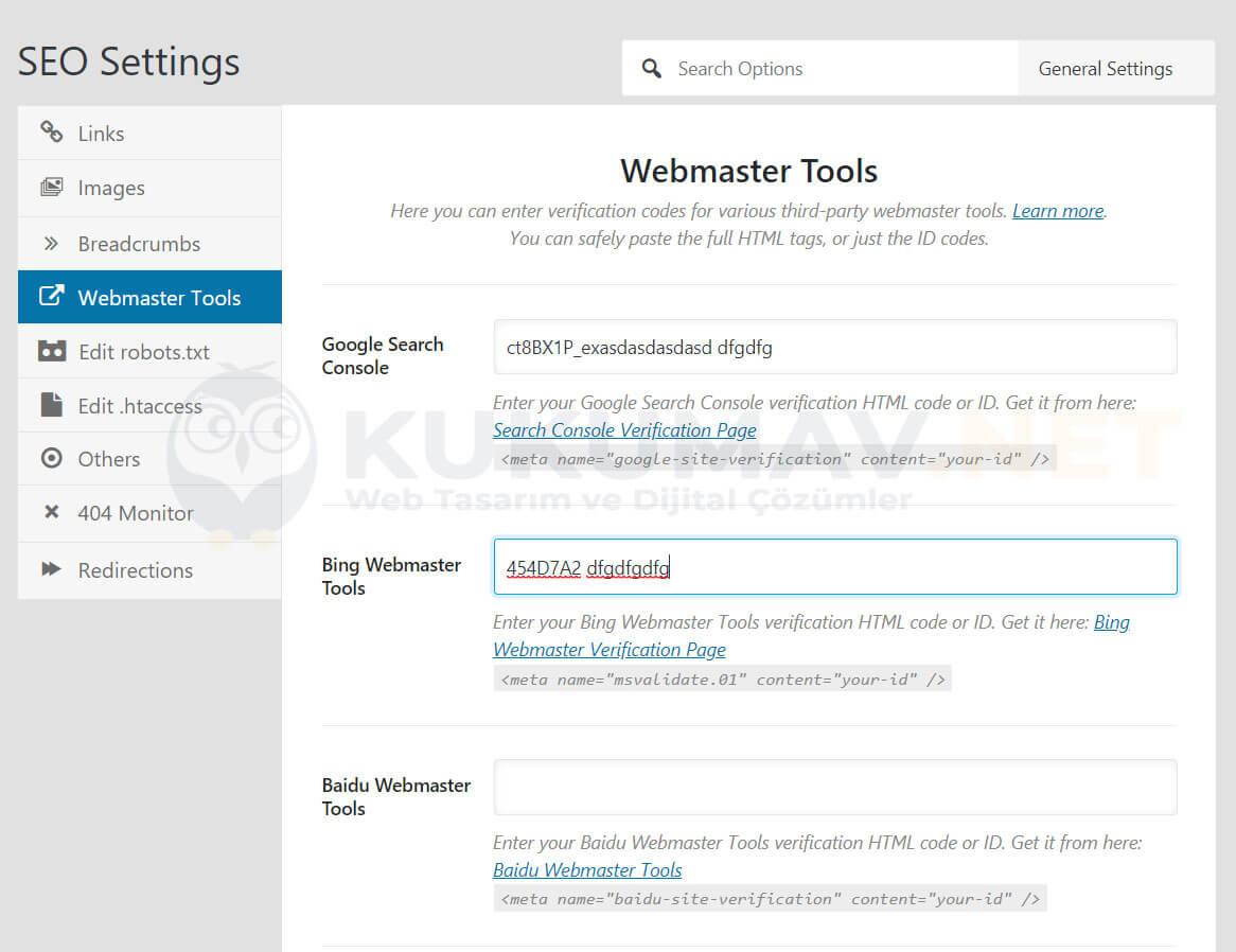 Rank Math Webmaster Tools Ayarları