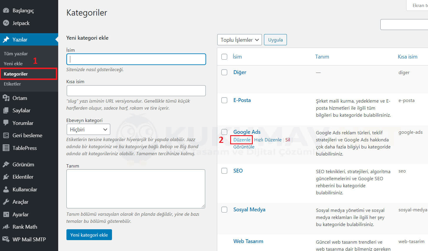Wordpress Kategori Açıklaması Ekleme