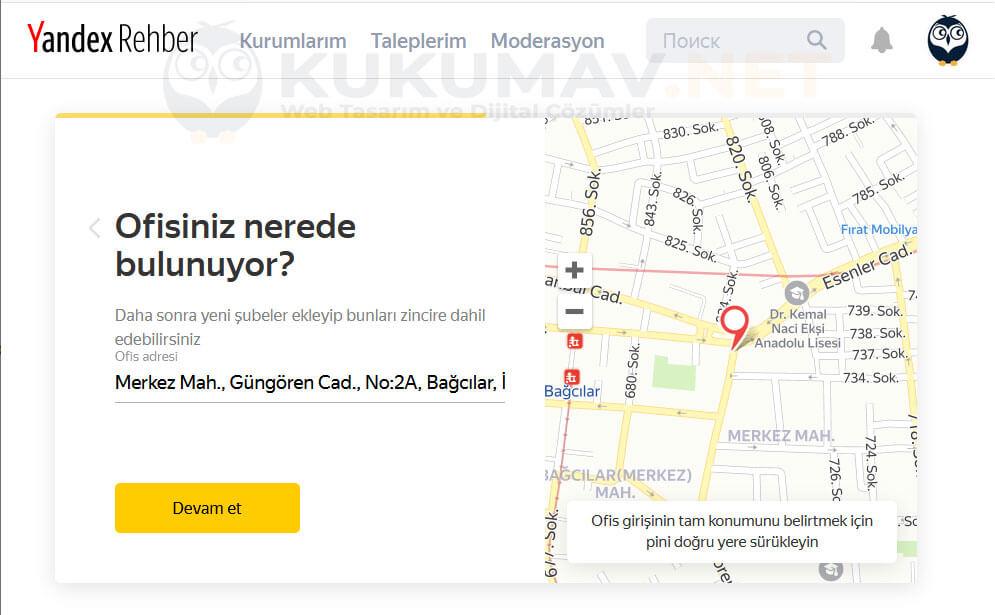 Yandex Harita Kaydı