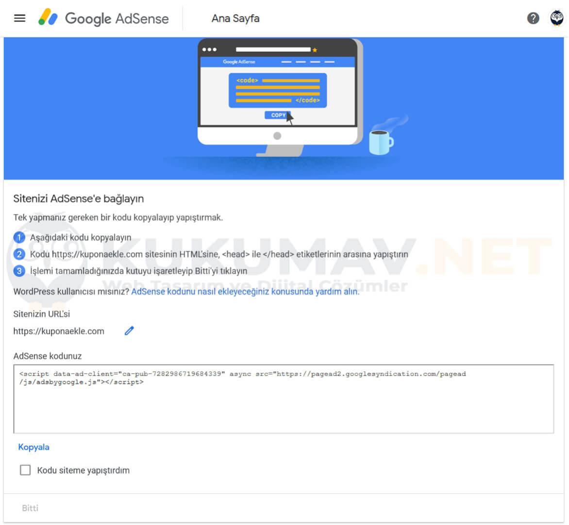 Sitenizi Google'a bağlayın