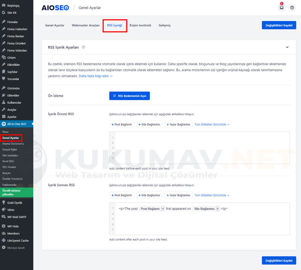 All in one SEO RSS