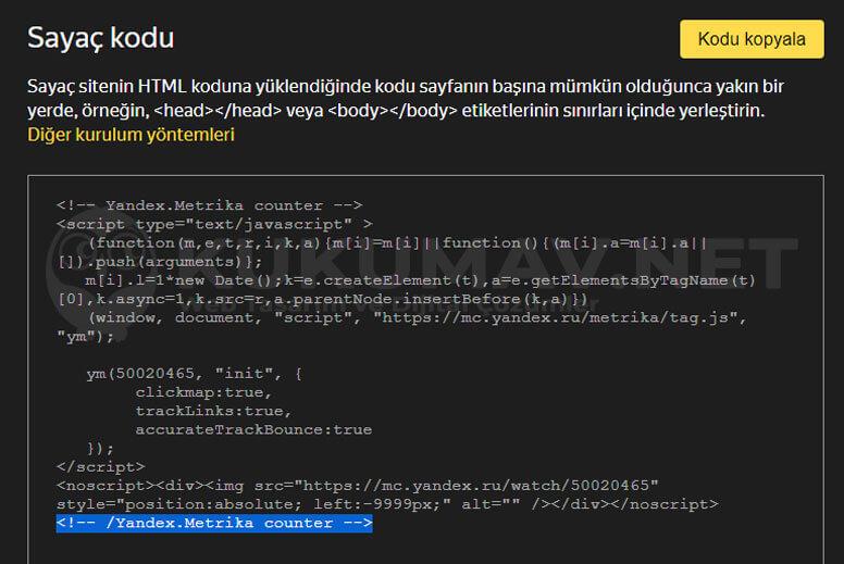 Yandex Metrika Sayaç Kodu