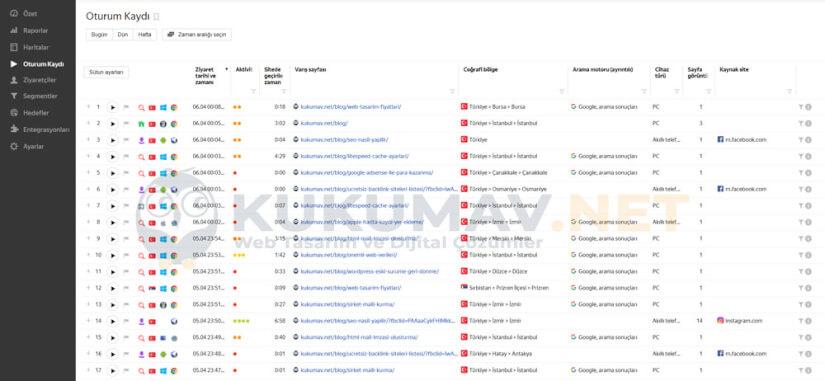 Yandex Metrica Oturum Kaydı