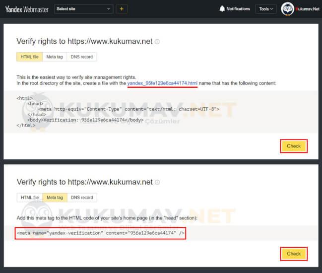 Yandex Webmaster Kaydı