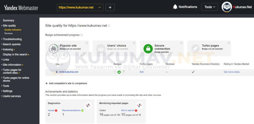 Yandex Webmaster Site Quality