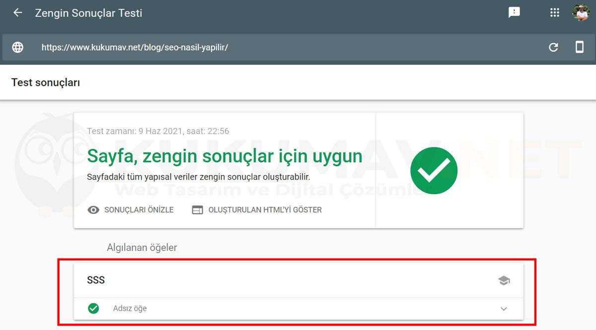 Google FAQ Schema testi